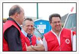 Juan Carlos García Ruiz, presidente de Cruz Roja en Lorca (a la derecha), con el presidente de Cruz Roja en Murcia, Aurelio Luna (en el centro); y el presidente nacional de Cruz Roja Española, Juan Manuel Suárez del Toro (a la izquierda).
